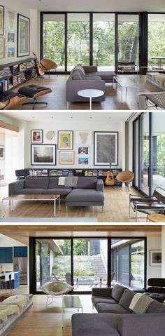 Large sliding glass and screen doors connect the kitchen, dining room and the living room of this modern house to the courtyard and the porch, and provide the entire house with sufficient cross ventilation to enjoy summer breezes during evening hours. #ModernHouse #LivingRoom #InteriorDesign