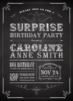Printable Chalkboard Surprise Birthday Party by plpapers on Etsy
