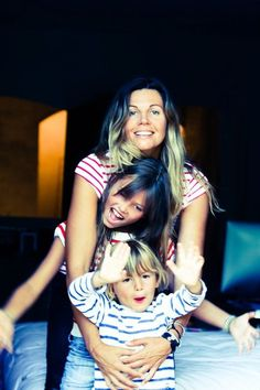 Thylane Lena-Rose Blondeau with her mother and brother.