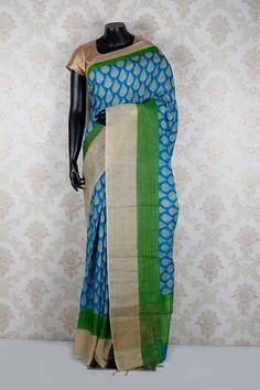 #Blue & #cream pure #tussar silk weaved adorable #saree with #green & cream border -SR12505