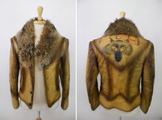 Vintage Men's Fur Collar Leather Jacket with by CHICAGOHARDWARE