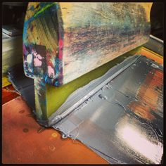 """Squeegee. Dark Water Press apparel is 100% made in USA and """"Sweatshop-free."""" Handmade on a manual press. Visit our website at www.darkwaterpress.com"""
