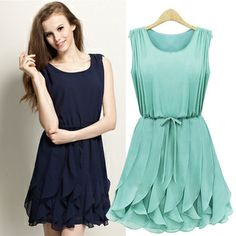 Free shipping! New 2014 summer hot sale women/girl's fashion casual slim show thin ruffles tank dresses.plus size S~XL $23.60