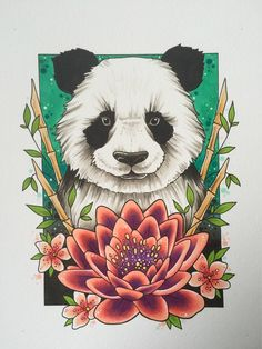 Panda tattoo print animal art wildlife art panda gifts tattoo design save the pandas tattoo gifts neo traditional endangered animal Animal Drawings, Art Drawings, Horse Drawings, Drawing Art, Tattoo Drawings, Save The Pandas, Panda Painting, Watercolour Painting, Watercolor Illustration