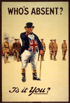This poster follows the trend of the Uncle Sam above with Union Jack communicating directly with the viewer. This poster plays on a similar shading style where the tan of the background matches the tan soldiers uniforms, but is then interrupted by the bold colored proud Union Jack.