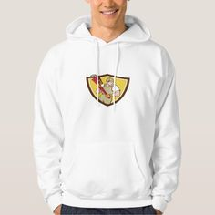 Plumber Holding Pipe Wrench Crest Cartoon Hoodie. Illustration of a plumber holding giant pipe wrench looking to the side viewed from front set inside shield crest on isolated background done in cartoon style. #Illustration #PlumberHoldingPipeWrench