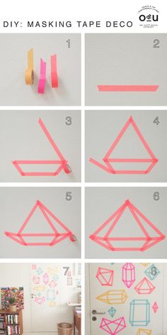 Cover a wall in these super easy tape diamonds. // 28 Decorating Tricks To Brighten Up Your Rented Home