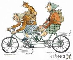 Old Lady Humor, Old Folks, Bicycle Art, Art Impressions, Whimsical Art, Tandem, Old Women, Illustrators, Illustration Art