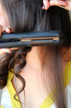 How to curl hair with a flat iron  (best curls ever)  (Update: This is seriously the best way to curl your hair. It's so easy and takes only 20 min. for me, and I have a good bit of hair. It stays pretty well without any hairspray. Before you go out of the house if you re-curl some strands that didn't stay too well then they stay put perfectly.)