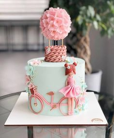 Baby Girl Birthday Cake, Candy Birthday Cakes, Elegant Birthday Cakes, Beautiful Birthday Cakes, Beautiful Cakes, Cake Designs For Kids, Cake Decorating Designs, Girly Cakes, Cute Cakes