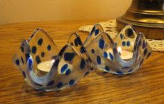 Fused Glass Candle Holders Clear Glass with Blue Spots, #CandleHolders, #FusedGlass, #Handmade, #ClearGlass, #BlueGlass, #Romantic, #Christmas, #GreatGift, #HomeDecor