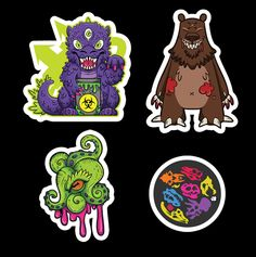 A lovely little collection of waterproof and weatherproof vinyl stickers featuring Manekozilla, El Dread the Bear, Fossilized and Tentacle'd. Perfect on any laptop, skate deck or sketchbook. ... Even the neighbourhood street lamp.