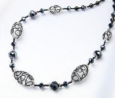 ハンドメイド 1円 ITALY製ベネチアングラスネックレスR155ブラック Handmade necklace ¥1円 〆03月31日