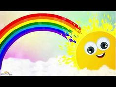 Watch the popular Rainbow Song from Hooplakidz.  Copyright - HooplaKidz Inc.    Lyrics:  Violet indigo blue green  Yellow orange and red  The prettiest Colors ever seen  That's what Mr. Rainbow said     At the colours I stopped to stare  When The sun had a secret to share  Follow the colors I was told  At the end of the rainbow lies a pot of gold      So I ski...