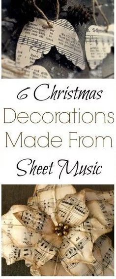 Chic Christmas Sheet music crafts using old Sheet music paper for Christmas decorations Christmas crafts Shabby Chic Vintage Christmas style DIY Christmas Tree Ornaments. Decoration Christmas, Christmas Fashion, Diy Christmas Ornaments, Xmas Crafts, Diy Christmas Gifts, Christmas Christmas, Decoration Crafts, Diy Music Decorations, Christmas Quotes