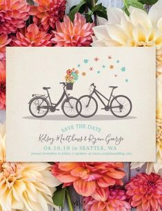 This cute and vintage Save the Date Announcement Postcard features Two bicycles surrounded by cheery flowers design with a vintage romantic vibe. Funny Save The Dates, Vintage Save The Dates, Save The Date Photos, Save The Date Postcards, Wedding Save The Dates, Save The Date Cards, Vintage Wedding Invitations, Wedding Invitation Cards, Save The Date Templates