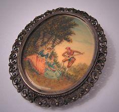 Antique Hand Painted Pendant Necklace Brooch Romantic Victorian Scene