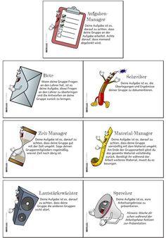 Rollenkarten für die Gruppenarbeit ...