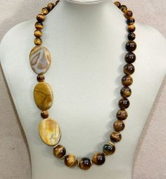 Graduated yellow tiger eye and agate necklace