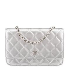 c4c31cf1863b Chanel Silver Quilted Lambskin Wallet On Chain (WOC) Chanel Woc, Chanel  Wallet,