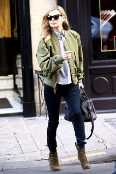 Kate Moss' Street Style Confirms Her Icon Status #refinery29  http://www.refinery29.com/2015/01/80725/best-kate-moss-outfits#slide-7  The army-green Louis Vuitton bomber adds a chic touch to Kate's urban-explorer getup, which she donned for a shopping trip in Paris earlier this year.
