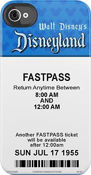 Disneyland's Opening Day FastPass iPhone case.