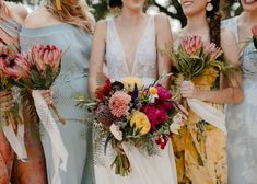 Colorful + summery bouquets featuring yellow, pink, and purple blooms Yellow Wedding, Boho Wedding, Floral Wedding, Summer Wedding, Wedding Day, Wedding Trends, Wedding Blog, Dream Wedding, Wedding Flower Guide