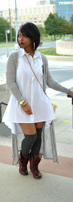 : 2 Stylish White Button Downs: Look Two - Fall Shirts - Ideas of Fall Shirts - White Shirt Dress Fall 2014 Maxi Cardigan Knee Socks Curvy Girl Fashion, Look Fashion, Plus Size Fashion, Womens Fashion, Fashion Trends, Petite Fashion, Sport Fashion, Fall Fashion, Look Plus Size