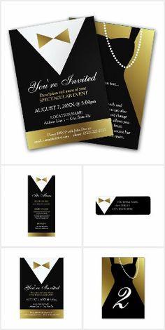 Black and gold tuxedo return address labels return address black formal modern tuxedo and dress invitations stopboris Gallery