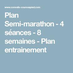 Plan Semi-marathon - 4 séances - 8 semaines - Plan entrainement