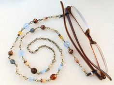 Eyeglass Chain Necklace in Blues Golds Bronze by CreativeGypsy, $38.00