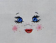 Visage figure tête de poupée en tissu yeux bleu pour