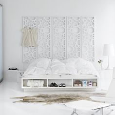 Scandinavia crisp white bedroom from Bolia. (minus the fur rug. Not a fan of those)