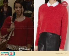 Mariana's red fluffy sweater on The Fosters. Outfit Details: http://wornontv.net/28876 #TheFosters #fashion