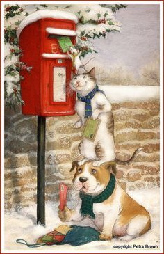 Christmas greeting card design by children's book illustrator, Petra Brown.