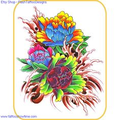 Flower Tattoo Flash Design 9 for you on Etsy. Top quality high resolution color design, with tattoo stencil outline.   Instant download only $1.95.   Get the body art you deserve. Many other designs.
