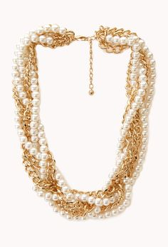 Opulent Faux Pearl & Chain Choker | FOREVER21 - 1000072049