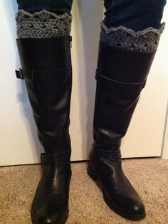 Crocheted Lacy Boot Cuff Boot Topper Leg by shorethingdesigns