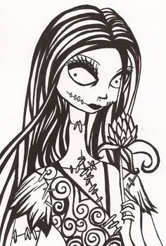 Sally Nightmare Before Christmas Drawing Black And White on Halloween . Tim Burton Kunst, Tim Burton Art, Sally Nightmare Before Christmas, Colouring Pages, Coloring Books, Jack And Sally, Arte Horror, Maquillage Halloween, Jack Skellington