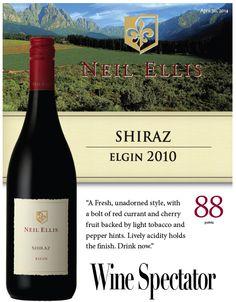 #NeilEllis Shiraz Elgin 2010 - 88 points - #Wine Spectator South African Wine, Red Wine, Vineyard, Stuffed Peppers, Fruit, Bottle, Drinks, Wine Pairings, Drinking