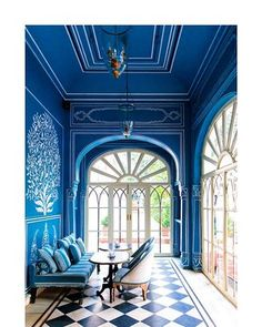 10 Dreamy rooms with black & white tiles you will instantly love (Daily Dream Decor) Blue Rooms, Blue Walls, Dark Walls, Interior Architecture, Interior And Exterior, Interior Rendering, Ceiling Texture Types, Interior Inspiration, Design Inspiration