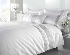 Shop for King Size - White & Silver Diamante Faux Silk Duvet Cover Bed Set. Starting from Compare live & historic home prices. Luxury Duvet Covers, White Duvet Covers, Bed Duvet Covers, Luxury Bedding, Bed Sets, Duvet Sets, Where To Buy Bedding, Best Bed Sheets, Best Bedding Sets