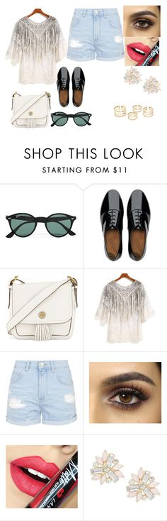 """Untitled #375"" by carolineccvi on Polyvore featuring Ray-Ban, FitFlop, Tory Burch, Topshop, Fiebiger, Cara, women's clothing, women, female and woman"