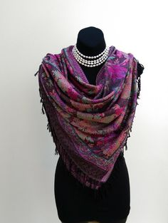 Spring colored scarf/ hijab Pashmina scarf purple pink spring collection by ScarfinityLLC