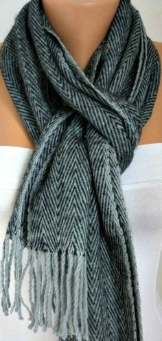 069eb74840 Items similar to Father's Day Gifts Unisex Scarf - Knit - Wool Scarf -  Zigzag Cowl Scarf Shawl - Neck Warmer Black Light Gray Gift -Men Scarf -  Man Scarf on ...