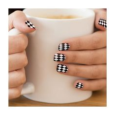 Bold Black & White Harlequin Minx ® Nail Art ($21) ❤ liked on Polyvore featuring beauty products, nail care, nail treatments, nails, beauty, makeup, nail polish and other