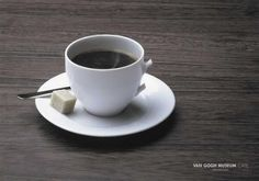 Advert for Van Gogh Museum cafe in Amsterdam. The handle (Resembling an ear) has been cut off just as Van Gogh famously removed his ear.