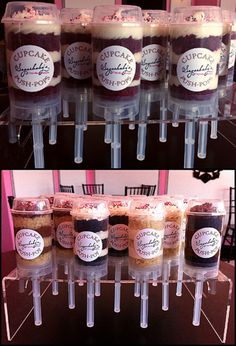 cup cake push pops. more practical and cheaper than doing glass jars for each guest with the wedding cake. though i still love that idea so much more.
