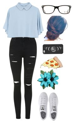 """PIZZA FLOWER "" by stellkake ❤ liked on Polyvore featuring Topshop, Ray-Ban, adidas, Casetify and Tattly"