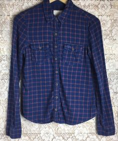 GILLY HICKS Women's Sz Sm Blue Plaid Check Button Front Top Long Sleeve | eBay